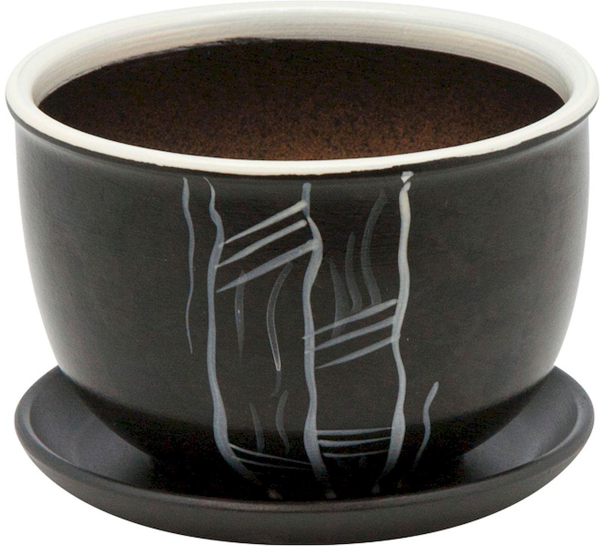 Горшок цветочный Engard, с поддоном, цвет: черный, 4,7 л. BH-16-3BH-16-3Керамический горшок Engard - это идеальное решение для выращивания комнатных растений и создания изысканности в интерьере. Керамический горшок сделан из высококачественной глины в классической форме и оригинальном дизайне.Объем: 4,7 л.