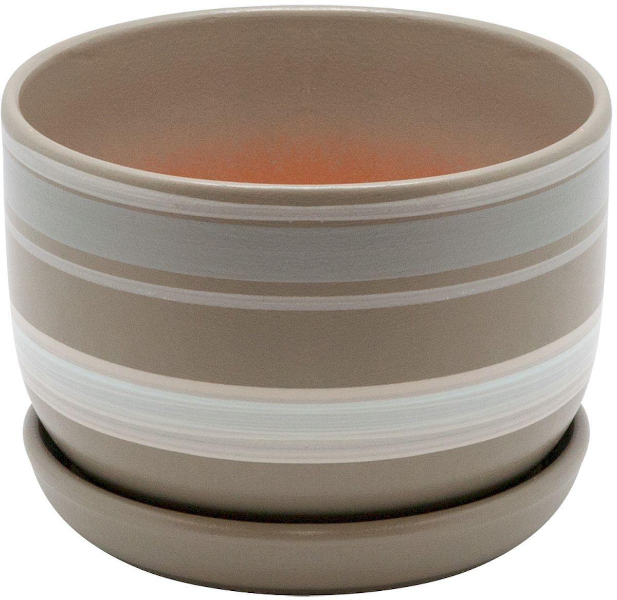 Горшок цветочный Engard, с поддоном, цвет: серый, белый, 1,65 лBH-18-5Керамический горшок Engard - это идеальное решение для выращивания комнатных растений и создания изысканности в интерьере. Керамический горшок сделан из высококачественной глины в классической форме и оригинальном дизайне.Объем: 1,65 л.