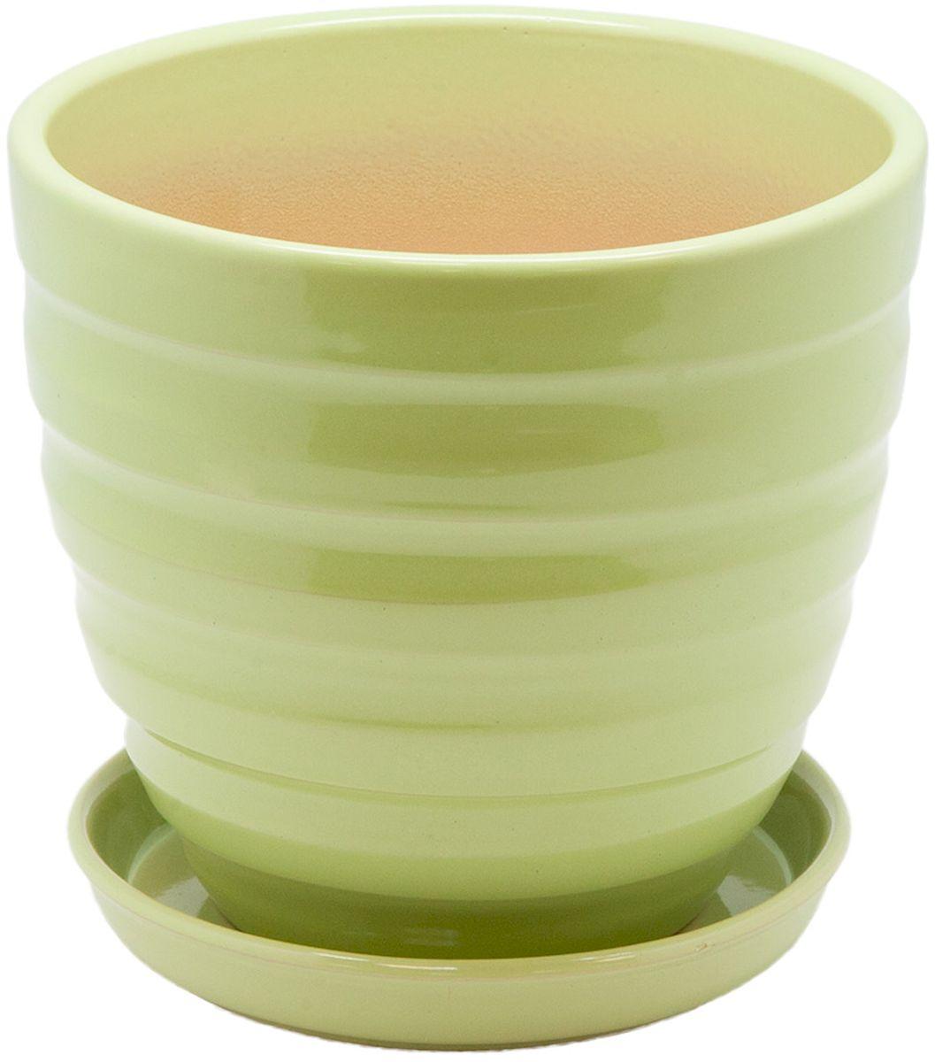 Горшок цветочный Engard, с поддоном, цвет: зеленый, 2,4 л. BH-19-2BH-19-2Керамический горшок Engard - это идеальное решение для выращивания комнатных растений и создания изысканности в интерьере. Керамический горшок сделан из высококачественной глины в классической форме и оригинальном дизайне.Объем: 2,4 л.