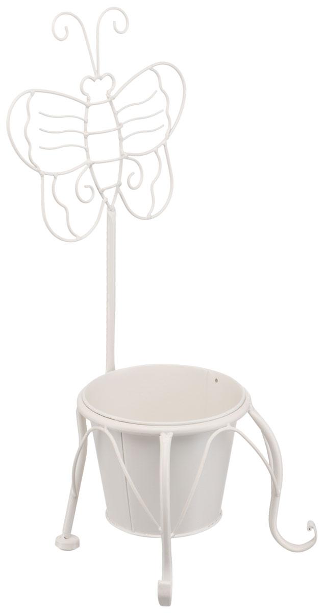Подцветочница Engard Бабочка, цвет: белый, 20 х 20 х 48 см. BT-02ZX06-MДекоративная подцветочница Бабочка, выполненная в белом классическом цвете, станет прекрасным украшением к интерьеру.Горшок идет в комплекте.Конструкция подцветочницы и сам горшок выполнены из металла.