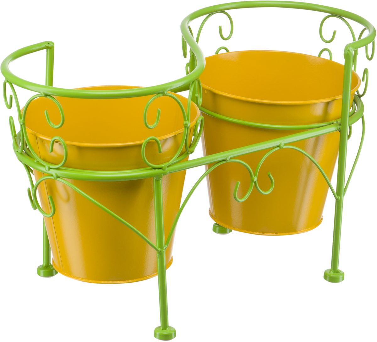 Подцветочница Engard, на 2 горшка, цвет: зеленый, желтый, 41,5 х 21 х 25 см. BT-06BT-06Декоративная подцветочница Engard на 2 горшка яркого и сочного цвета станет заметным элементом любого дизайна. Горшки идут в комплекте. Конструкция подцветочницы и сами горшки выполнены из металла.