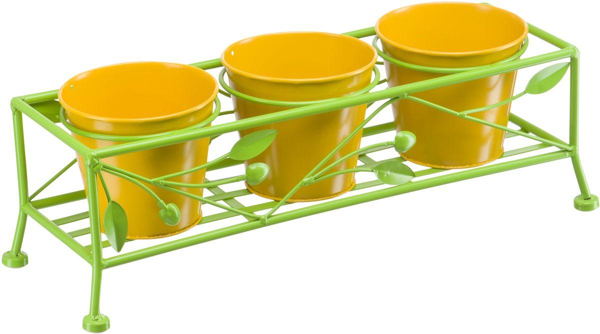 Подцветочница Engard, на 3 горшка, цвет: зеленый. желтый, 50 х 17 х 17 см. BT-08BT-08Подцветочница Engard на 3 горшка, предназначенная для посадки декоративных растений, станет прекрасным украшением для дома. Яркая расцветка привлекает к себе внимание и поднимает настроение.Горшки идет в комплекте. Конструкция подцветочницы и сами горшки выполнены из металла.