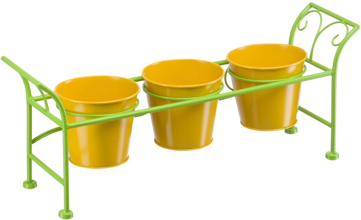 Подцветочница Engard, на 3 горшка, цвет: зеленый, желтый, 55 х 15 х 21,5 см. BT-09BT-09Подцветочница Engard на 3 горшка, предназначенная для посадки декоративных растений, станет прекрасным украшением для дома. Яркая расцветка привлекает к себе внимание и поднимает настроение.Горшки идет в комплекте. Конструкция подцветочницы и сами горшки выполнены из металла.