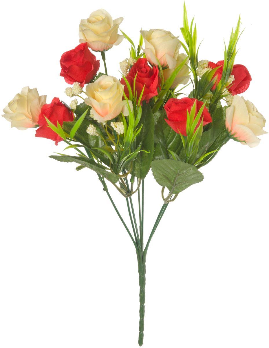 Цветы искусственные Engard Роза в букете, цвет: красный, кремовый, высота 27 смE4-238MИскусственные цветы Engard - это популярное дизайнерское решение для создания природного колорита и индивидуальности в интерьере. Декоративный букет роз из семи цветков выглядит довольно реалистично, ярко и является достойной альтернативой натуральным цветам. Розы имеют идеально собранную форму. Не требует постоянного ухода. Высота: 27 см.