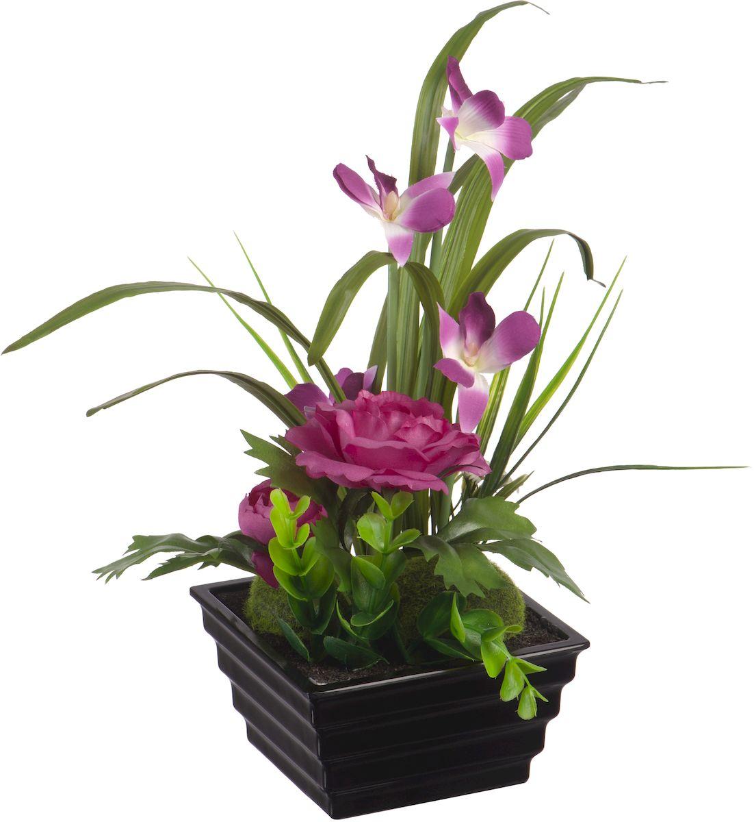 Цветы декоративные Engard Орхидеи и лютики, в цветочном горшке, 34 смYW-23Цветочные композиции Engard - это уникальное дизайнерское решение для создания природного колорита и гармонии в пространстве. Композиция из фиолетовых цветов выполнена из высококачественного материала, передающего неповторимую естественность и является достойной альтернативой живым цветам. Не требует постоянного ухода. Высота: 34 см.