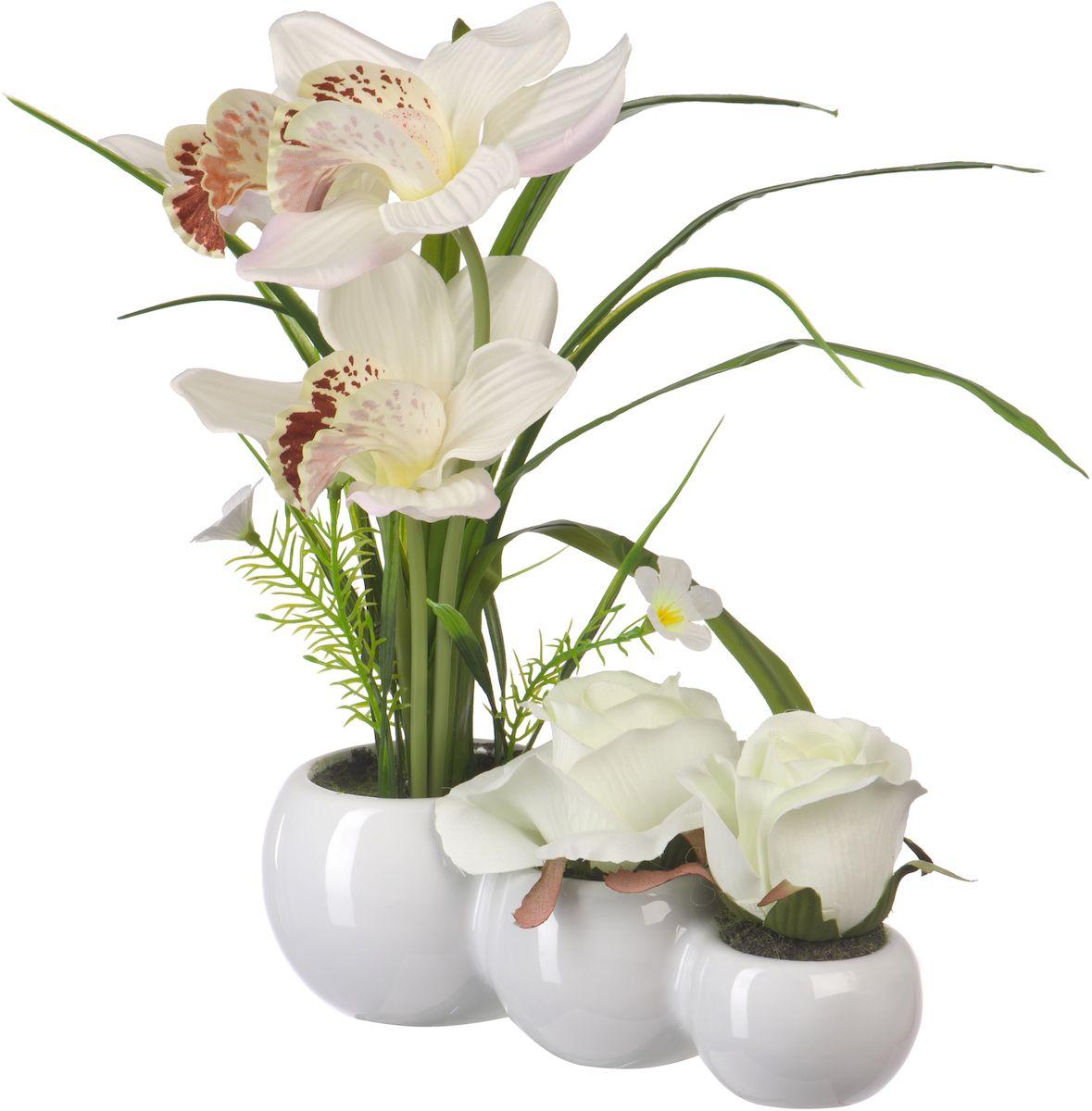 Цветы декоративные Engard Орхидея и роза, в кашпо, 23 х 7 х 30 смYW-30Цветочные композиции Engard - это уникальное дизайнерское решение для создания природного колорита и гармонии в пространстве. Композиция из белой орхидеи и роз выполнена из высококачественного материала, передающего неповторимую естественность и является достойной альтернативой живым цветам. Не требует постоянного ухода. Высота: 30 см.