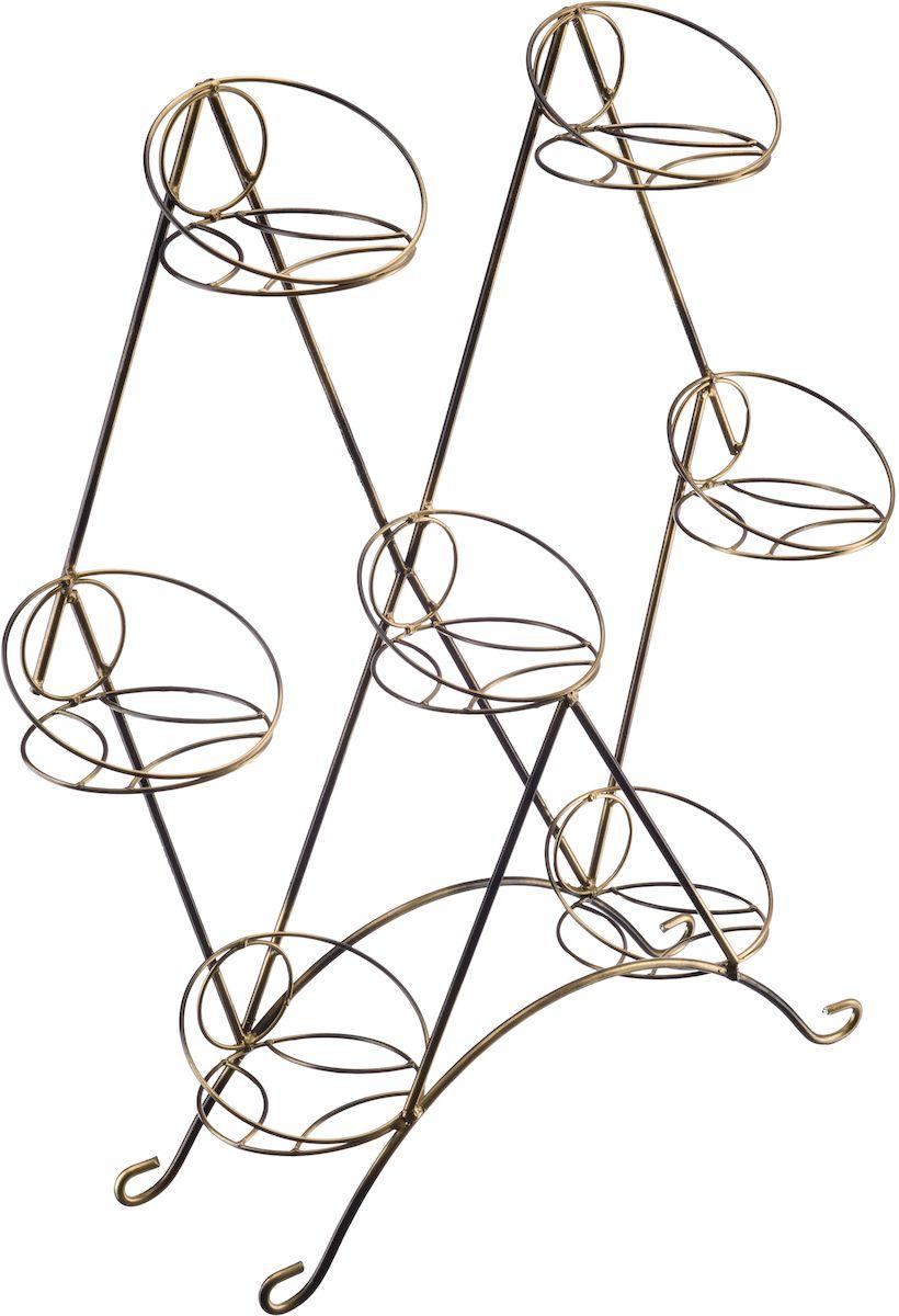 Подставка на подоконник Engard Рябчик, 7-местная, цвет: черный, золотой, 80 х 75 х 19 см подставка для цветов на подоконник лесенка 66х95см металл