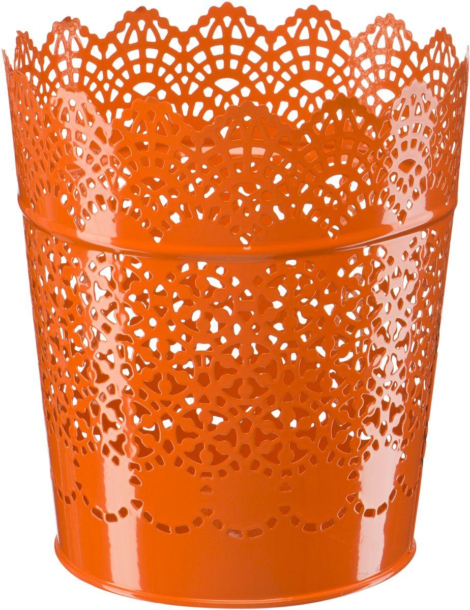 Кашпо Engard, цвет: оранжевый, 15,2 х 11,6 х 17 смА063Кашпо Engard, предназначенное для посадки декоративных растений, станет прекрасным украшением для дома. Яркая расцветка привлекает к себе внимание и поднимает настроение. Материал изготовления - металл.