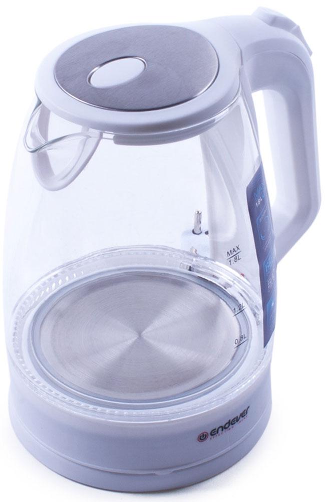 Endever Skyline KR-325G, White чайник электрическийKR-325 GЧайник электрический Endever Skyline KR-325G выполнен из высококачественных материалов. Скрытыйнагревательный элемент из нержавеющей стали обеспечивает быстрое закипание и долговечность. Удобныйиндикатор уровня воды помогает контролировать максимальное заполнение, текущий уровень и минимальныйостаток. Удобный прочный механизм открывания крышки позволяет легко набирать воду.