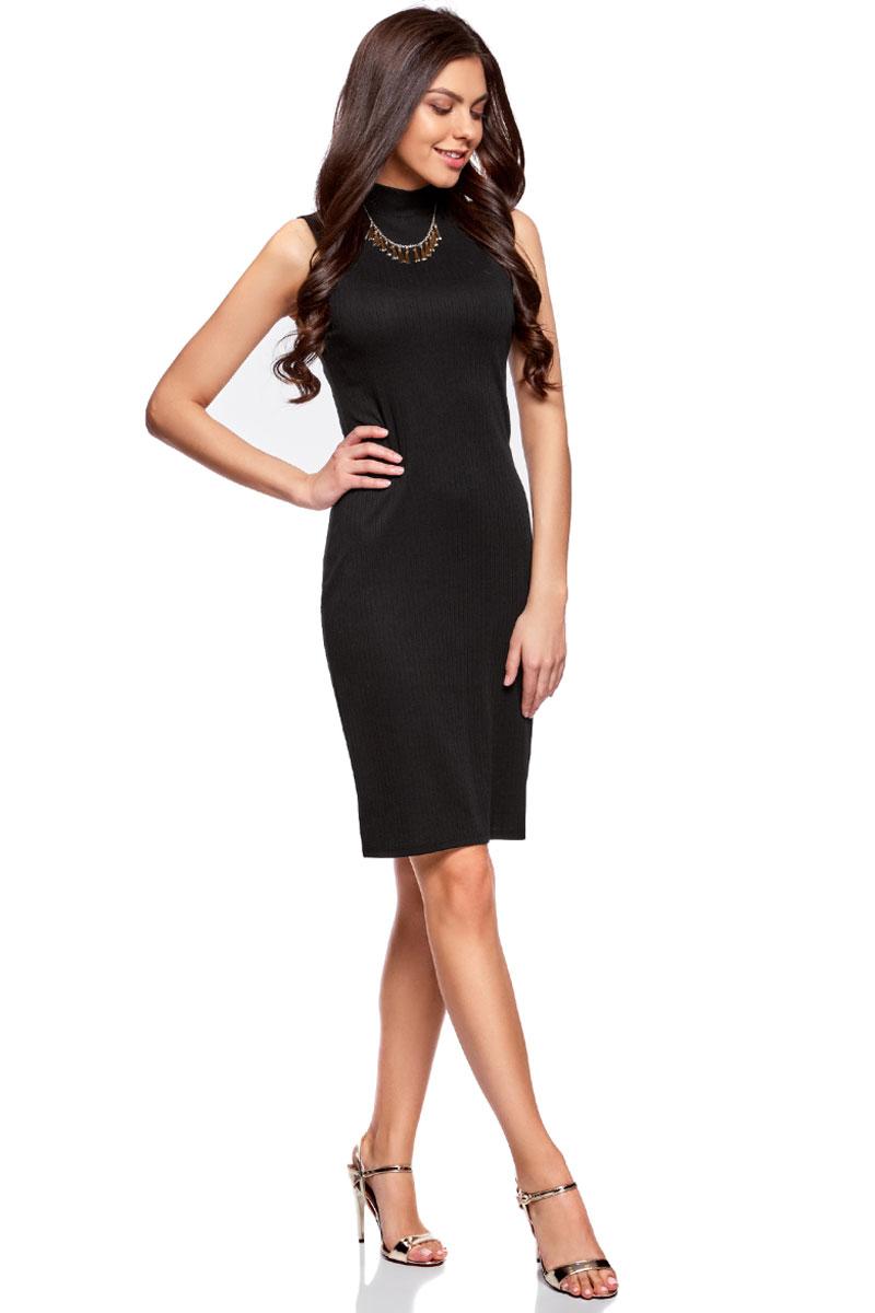 Платье oodji Ultra, цвет: черный. 14005138/46464/2900N. Размер XXS (40)14005138/46464/2900NОблегающее платье oodji изготовлено из качественного смесового материала. Модель-миди выполнена без рукавов и с воротником-стойкой.