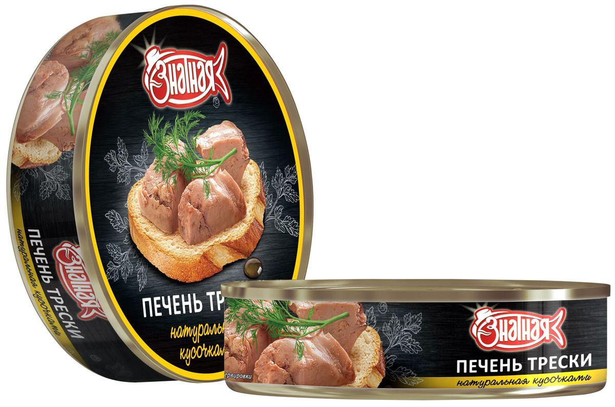 Знатная рыба Печень трески натуральная кусочками, 160 гLDR-4660013271673Печень из замороженного сырья. Сырье вылавливается на собственных судах.