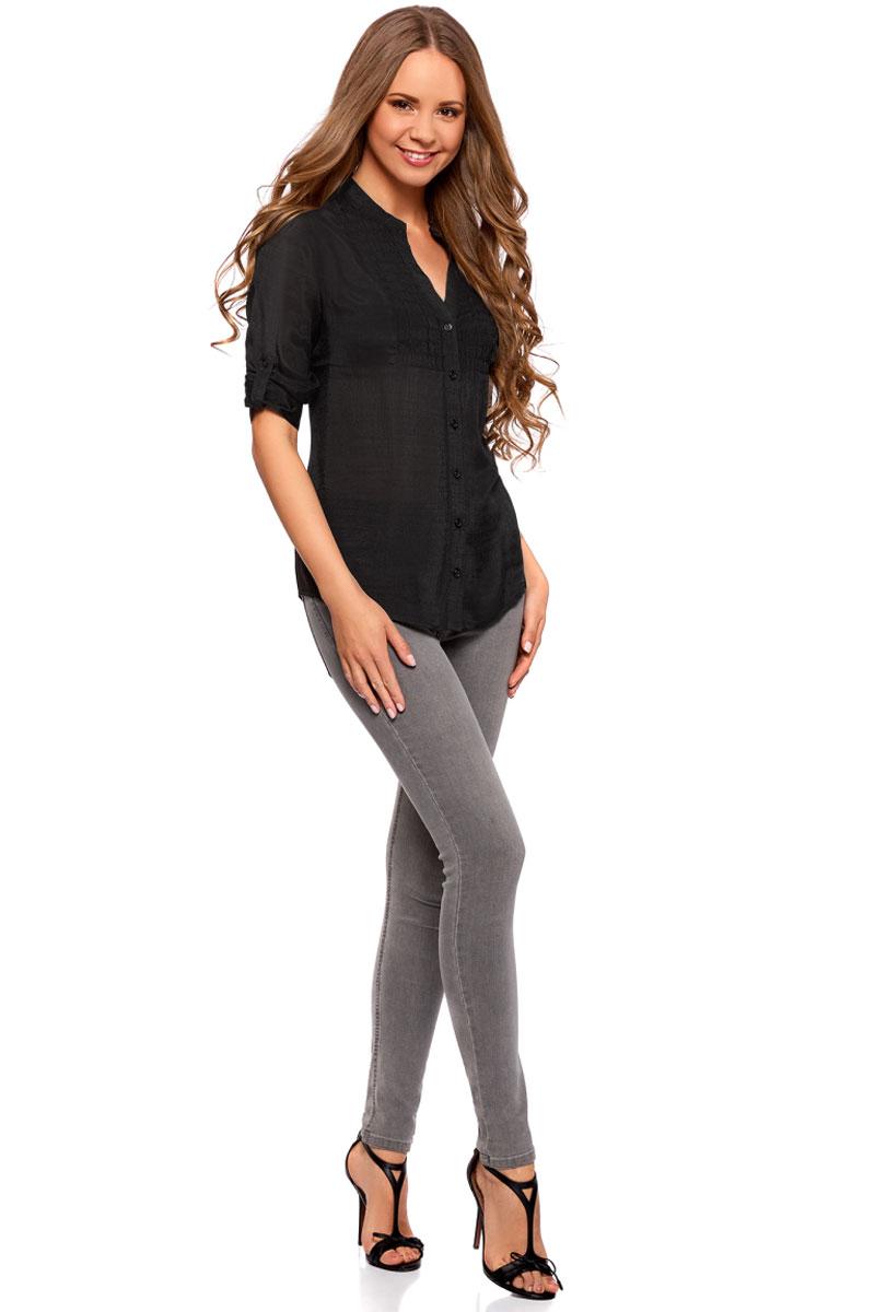 Блузка женская oodji Collection, цвет: черный. 21412068-2/19984/2900N. Размер 42-170 (48-170) платье oodji collection цвет черный 73912217 2b 33506 2900n размер l 48