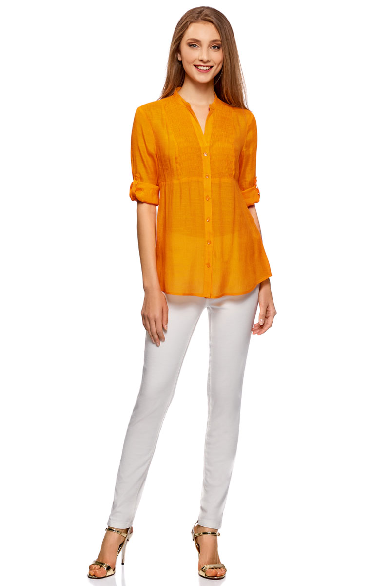 Блузка женская oodji Collection, цвет: оранжевый. 21412068-2/19984/5500N. Размер 38-170 (44-170) платье oodji collection цвет оранжевый 24001110 4 46432 5500n размер l 48 170