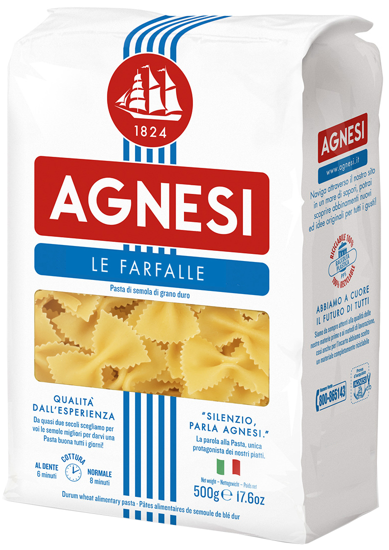 Agnesi макаронные изделия бабочки, 500 г22830Варить в кипящей подсоленной воде (100 г продукта на 1 л воды) в течение 11 минут.