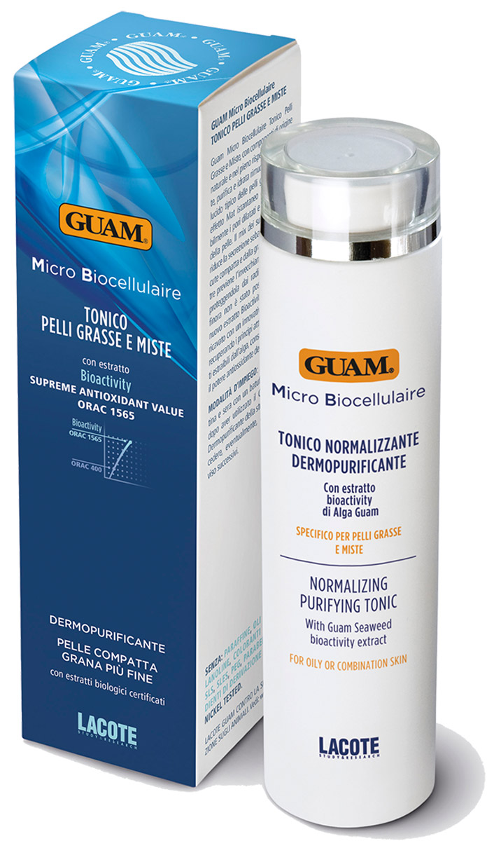 Guam Тоник для проблемной кожи Micro Biocellulaire 200 мл1083Очищает и увлажняет, убирает характерный для жирной кожи блеск, матирует, сужает поры, восстанавливает естественный рН кожи. Активные ингредиенты уменьшают секрецию сальных желез, что придает коже гладкий вид.