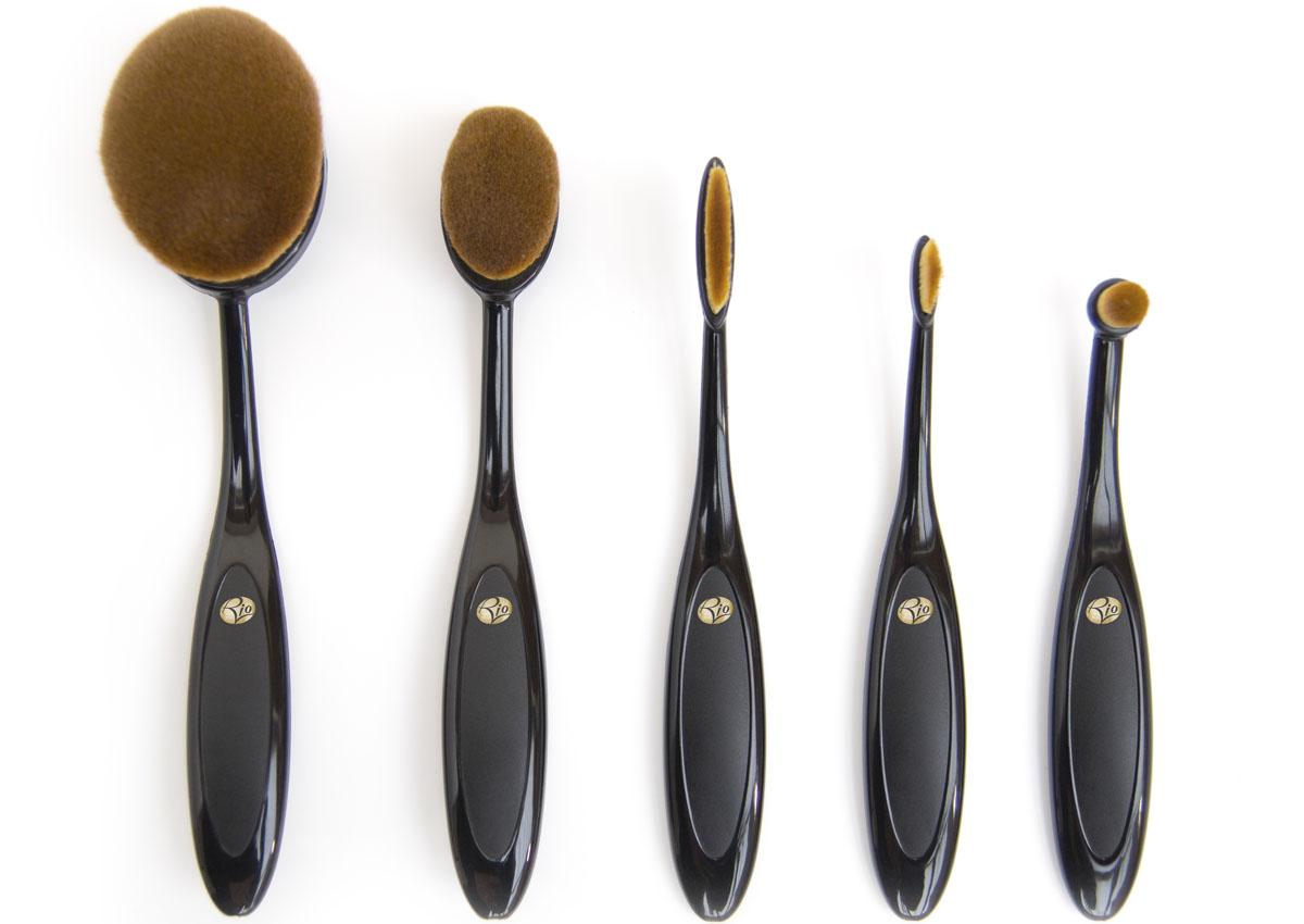 Rio Профессиональный набор кистей для нанесения макияжа Brom, микрофибра, 5 предметов кисти для макияжа zeades 800002