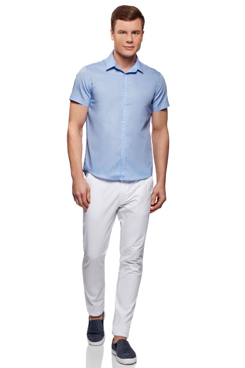 Рубашка мужская oodji Basic, цвет: синий. 3B210008M/46236N/7000N. Размер 40-182 (48-182)