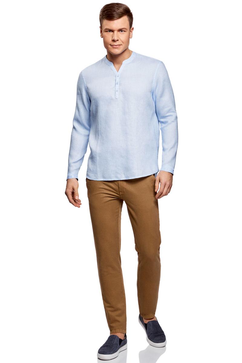 Рубашка мужская oodji Basic, цвет: голубой. 3B320002M/21155N/7000N. Размер S (46/48)3B320002M/21155N/7000NМужская рубашка от oodji выполнена из натурального льна. Модель без воротника с длинными рукавами на груди застегивается на пуговицы. Лен идеально подходит для теплой погоды. Он пропускает воздух, не вызывает аллергии, не выцветает на солнце. Льняные вещи просто приятно носить в жаркие дни.