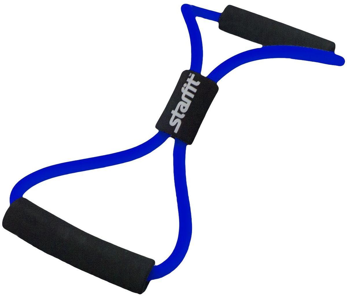 Эспандер многофункциональный Starfit ES-603, цвет: синий, 0,8 х 1,2 х 100 см эспандер многофункциональный starfit es 602 0 4 х 1 4 х 140 см