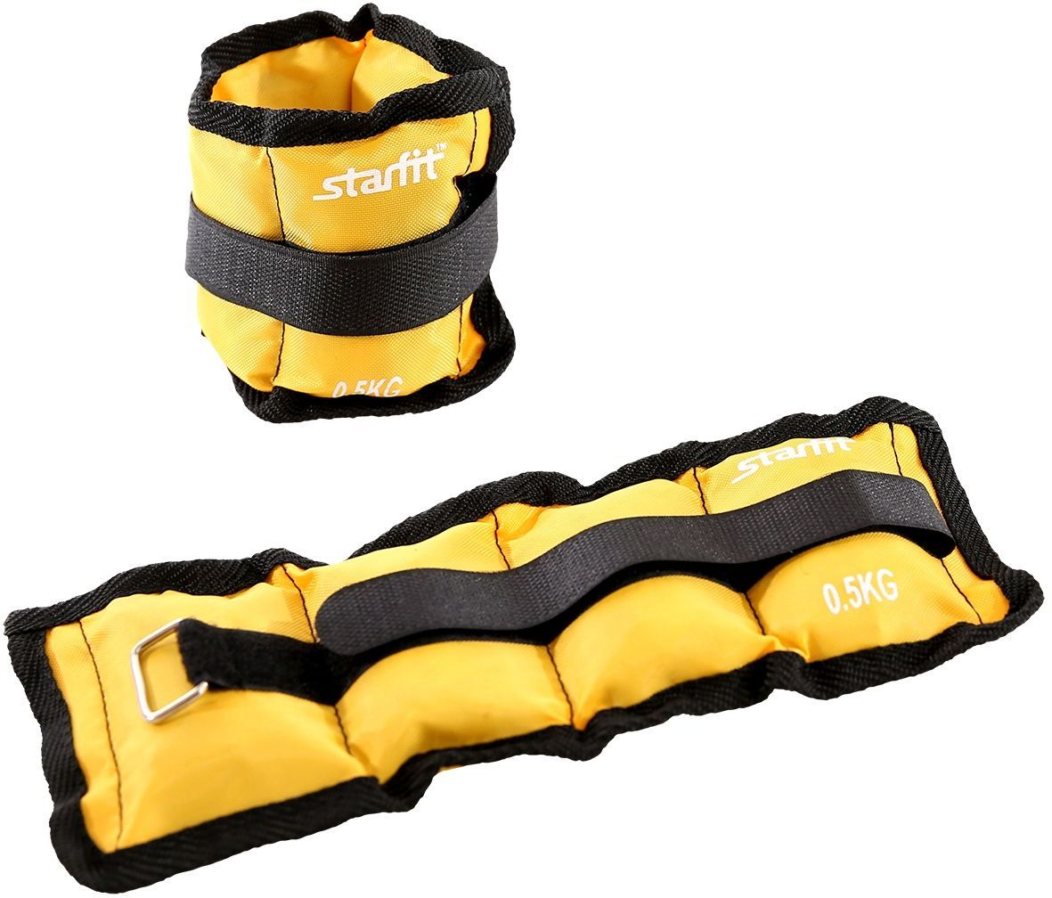 Утяжелители Starfit WT-401, цвет: желтый, 0,5 кг, 2 шт гиря starfit db 401 виниловая цвет желтый черный 4 кг