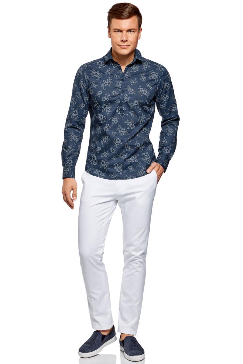 Рубашка мужская oodji Lab, цвет: синий. 3L310144M/46603N/7975F. Размер XXL (58/60)3L310144M/46603N/7975FМужская рубашка oodji выполнена из натурального хлопка. Модель с длинными рукавами и отложным воротником на груди застегивается на пуговицы. Натуральный хлопок приятен на ощупь, не раздражает кожу, дышит.