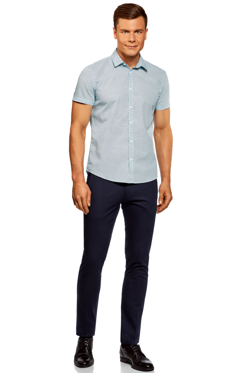 Рубашка мужская oodji Lab, цвет: белый, синий. 3L410108M/39312N/7079G. Размер XXL (58/60)