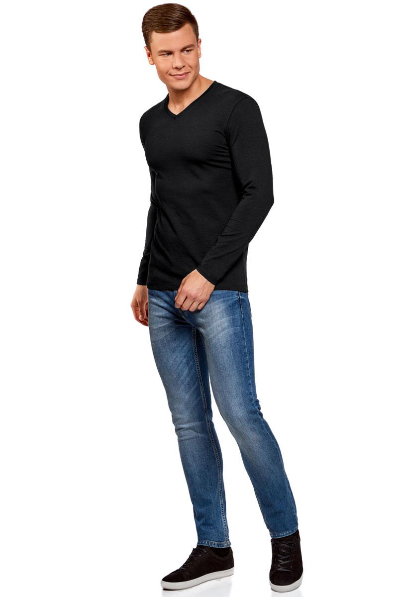 Лонгслив мужской oodji Basic, цвет: черный. 5B511002M/39230N/2900N. Размер XL (56)5B511002M/39230N/2900NМужской лонгслив от oodji выполнен из эластичного хлопкового трикотажа. Модель с длинными рукавами и V-образным вырезом горловины.