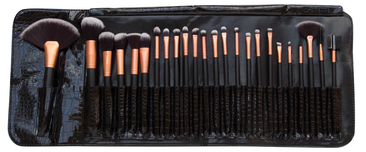 Rio Профессиональный набор кистей для макияжа Brst, 24 предмета + чехол дорожный набор кистей для макияжа