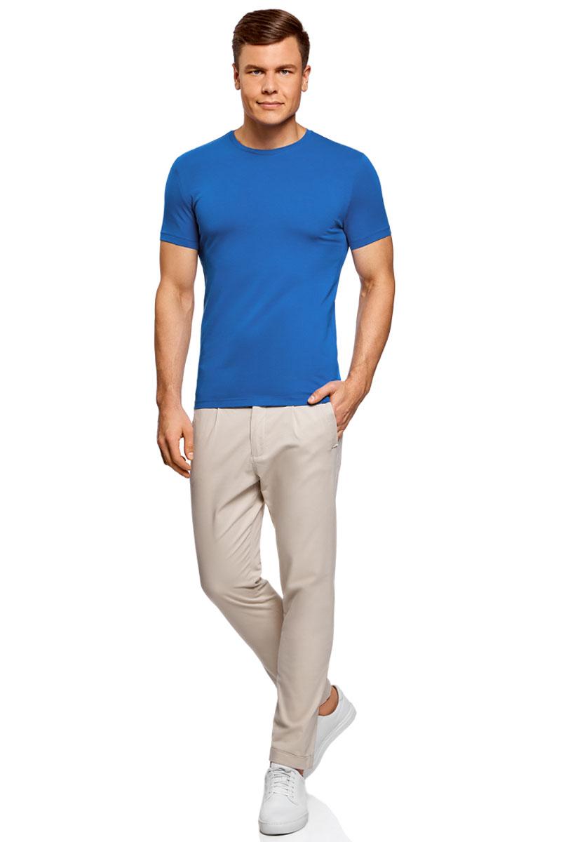 Футболка мужская oodji Basic, цвет: синий. 5B611004M/46737N/7500N. Размер S (46/48)