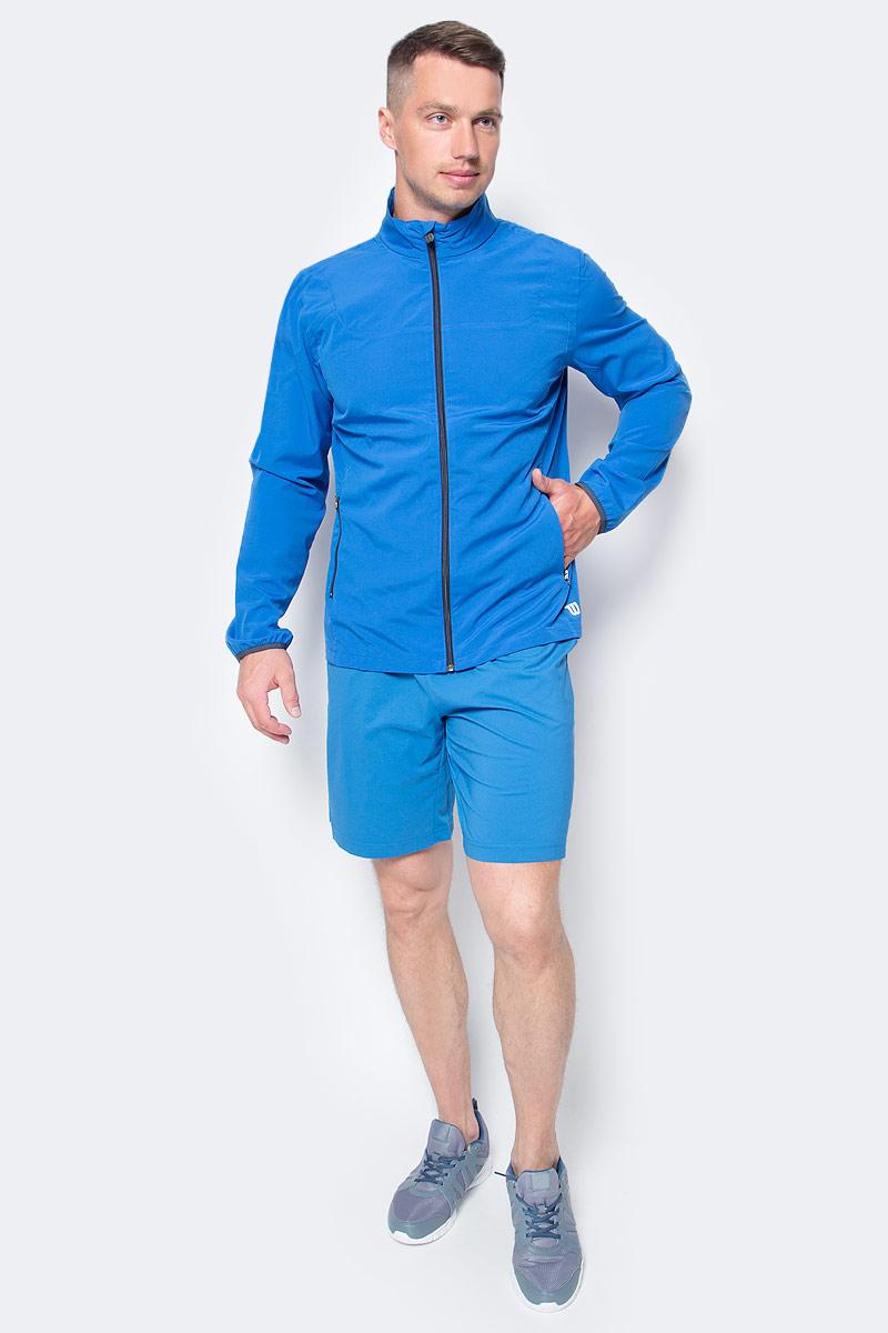 Ветровка для тенниса мужская Wilson Rush Color Inset Woven Jacket, цвет: синий. WRA725402. Размер S (46)WRA725402Разминочная куртка Wilson свободного кроя на молнии по всей длине для игры в большой теннис. Благодаря технологииnanoWIKвлага моментально отводится от тела, сохраняя сухость кожи. Эластичные манжеты, воротник-стойка и низ защищают от продувания. Предусмотрены боковые карманы на молниях для хранения небольших предметов.