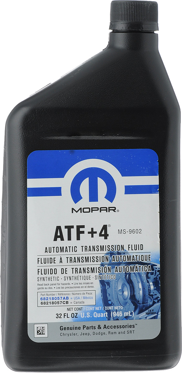 Гидравлическое масло MOPAR ATF +4, 946 мл68218057ABОбеспечивает комфортное переключение передач при низких температурах, имеет длительный срок службы. Также рекомендуется для некоторых механических трансмиссий и гидроусилителей рулевого управления. Имеет очень высокие показатели по температуре застывания и индексу вязкости. Непревзойденные характеристики по противоизносным и антикоррозийным свойствам.Товар сертифицирован.