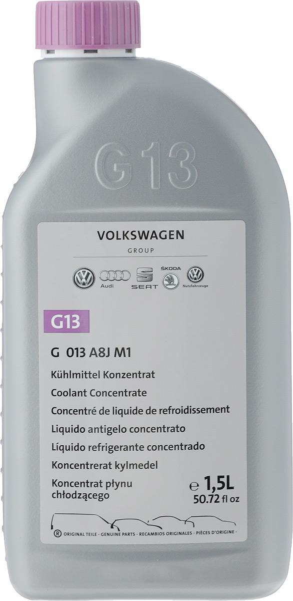 Антифриз VAG G13, концентрат, 1,5 лG013A8JM1Антифриз для системы охлаждения VW AUDI G13 отличается хорошей смешиваемостью с продуктами G12plus и G12plus. Использовать при необходимости защиты от замерзания, перегрева, коррозии и образования накипи. Рекомендуется круглогодичное применение продукта. Не содержит силикатов, нитритов, аминов и фосфатов, это является неоспоримым преимуществом перед стандартными антифризами. Помимо этого срок службы карбоксилатного Антифриза G13 составляет более 120 тысяч км. Пропорция разбавления 1-1. Пригодно для бессменного применения.Товар сертифицирован.