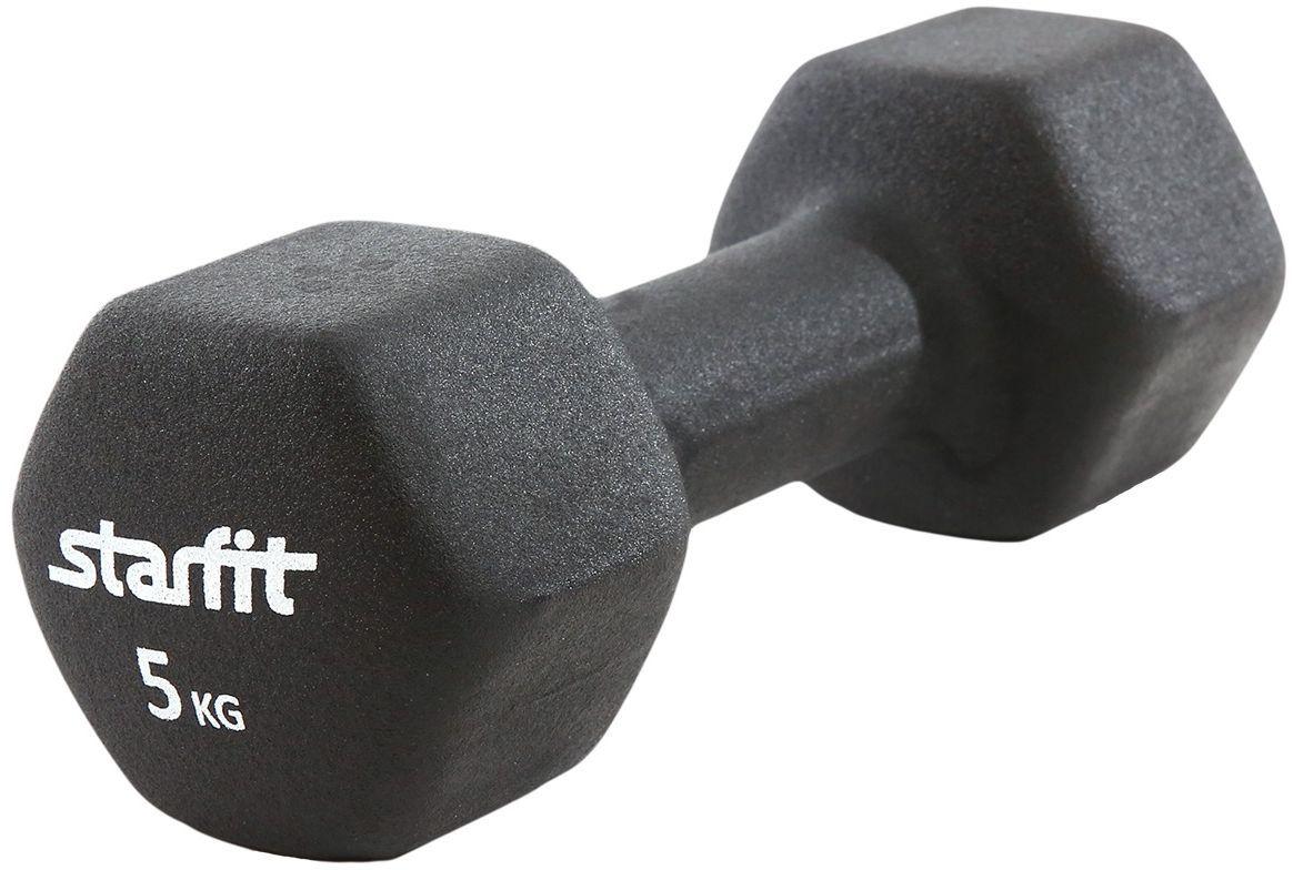 Гантель Starfit DB-201, неопреновая, цвет: черный, 5 кг гантель неопреновая starfit db 202 цвет теплый серый 3 кг