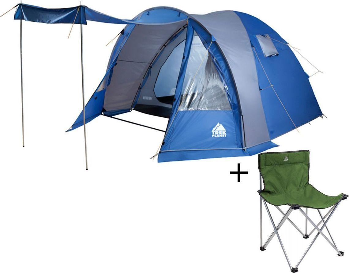 Палатка четырехместная TREK PLANET Ventura Air 4, цвет: синий, серый + Стул складной TREK PLANET Traveler, кемпинговый70230-70635Четырехместная двухслойная кемпинговая палатка Trek Planet Ventura Air 4 с вместительным светлым тамбуром, обзорными окнами и двумя входами в палатку с противоположных сторон.ОСОБЕННОСТИ МОДЕЛИ: - Тент палатки из полиэстера с пропиткой PU надежно защищает от дождя и ветра. - Все швы проклеены.- Высокий, вместительный и светлый тамбур,- Обзорные окна со шторками в тамбуре,- Дно из прочного водонепроницаемого армированного полиэтилена позволяет устанавливать палатку на жесткой траве, песчаной поверхности, глине и т.д.- Дуги из прочного стеклопластика;- Внутренняя палатка из дышащего полиэстера, обеспечивает вентиляцию помещения и позволяет конденсату испаряться, не проникая внутрь палатки;- Два входа во внутреннюю палатку с противоположных сторон тента,- Вентиляционные окна в спальном отделении,- Два раздельных D-образных входа во внутреннюю палатку со стороны тамбура- Москитная сетка на каждой двери во внутреннюю палатку в полный размер двери;- Съемная разделительная перегородка в спальном отделении (2+2),- Внутренние карманы для мелочей во внутренней палатке,- Возможность подвески фонаря в палатке;Для удобства транспортировки и хранения предусмотрен чехол из прочного полиэстера OXFORD, с двумя ручками и закрывающийся на застежку-молнию. Характеристики: Количество мест: 4Размер палатки: 270 см х (220+150+30) см х 185 см.Размер внутренней палатки: 270 см х 220 см х 185 см.Цвет: синий, серый.Размер в сложенном виде: 20 см х 20 см х 68 см.Материал внешнего тента: 100% полиэстер, пропитка PU.Водостойкость: 3000 мм.Материал внутренней палатки: 100% дышащий полиэстер.Материал пола: 100% полиэтилен.Материл дуги: стеклопласик 11 мм + сталь 16 мм.Вес палатки: 8,7 кг.Артикул: 70230.Производитель: Китай. Стул складной Trek Planet Traveler, кемпинговый, 48х40х46x74,5 смДостаточно широкое сиденье и спинка складного стула Traveler гарантия комфорта на пи