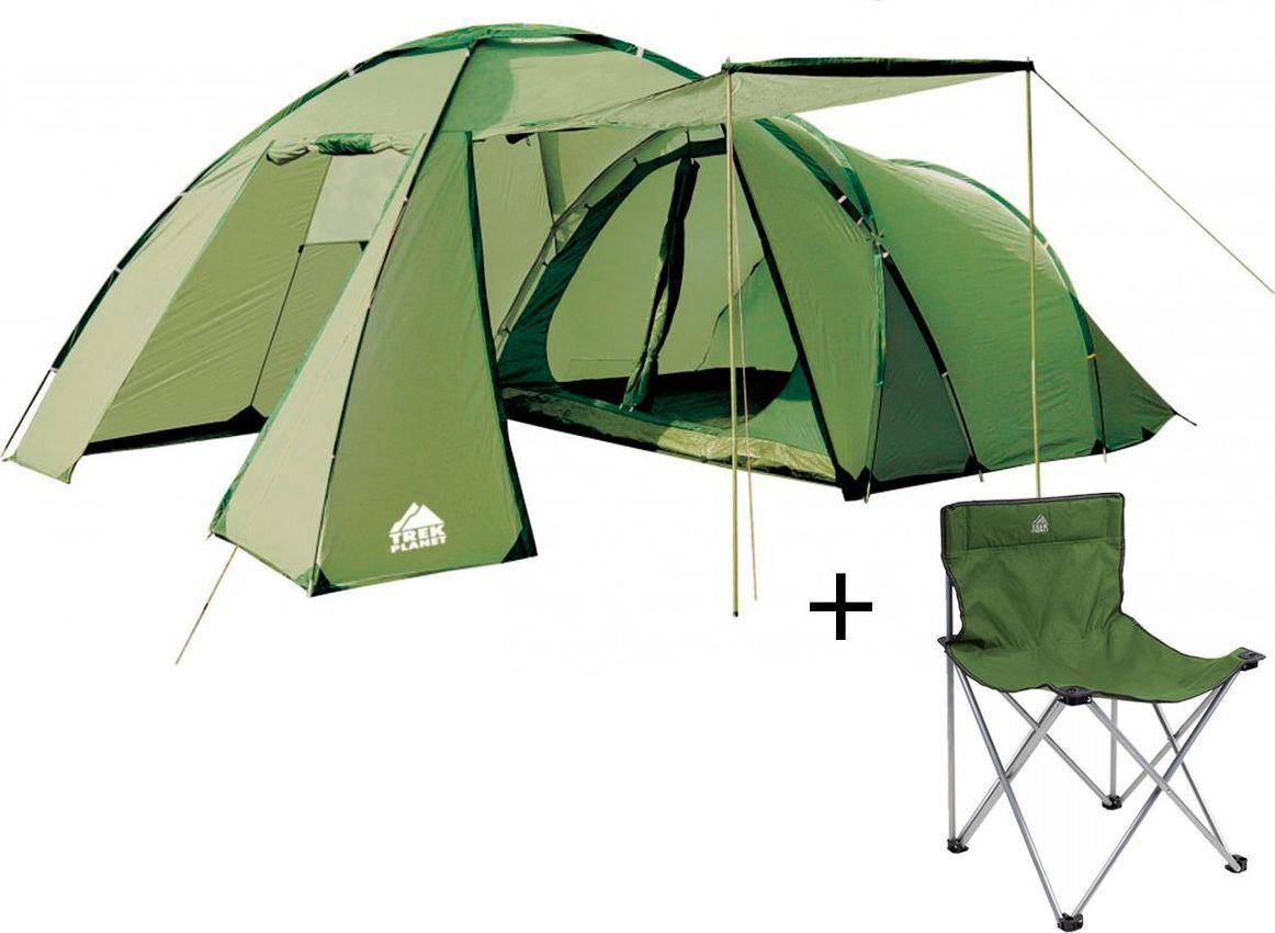 Палатка четырехместная TREK PLANET Montana 4, цвет: светлый хаки, хаки + Стул складной TREK PLANET Traveler, кемпинговый палатка четырехместная trek planet hudson 4 цвет серый оранжевый