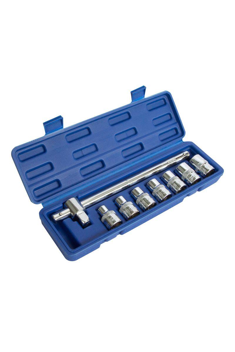 Набор Helfer, 8 предметов, 1/2HF000001В набор Helfer входят: вороток Т-образный (125 мм) головки торцевые6 граней (7 шт.): 8,10,12,13,14,17,19 mm