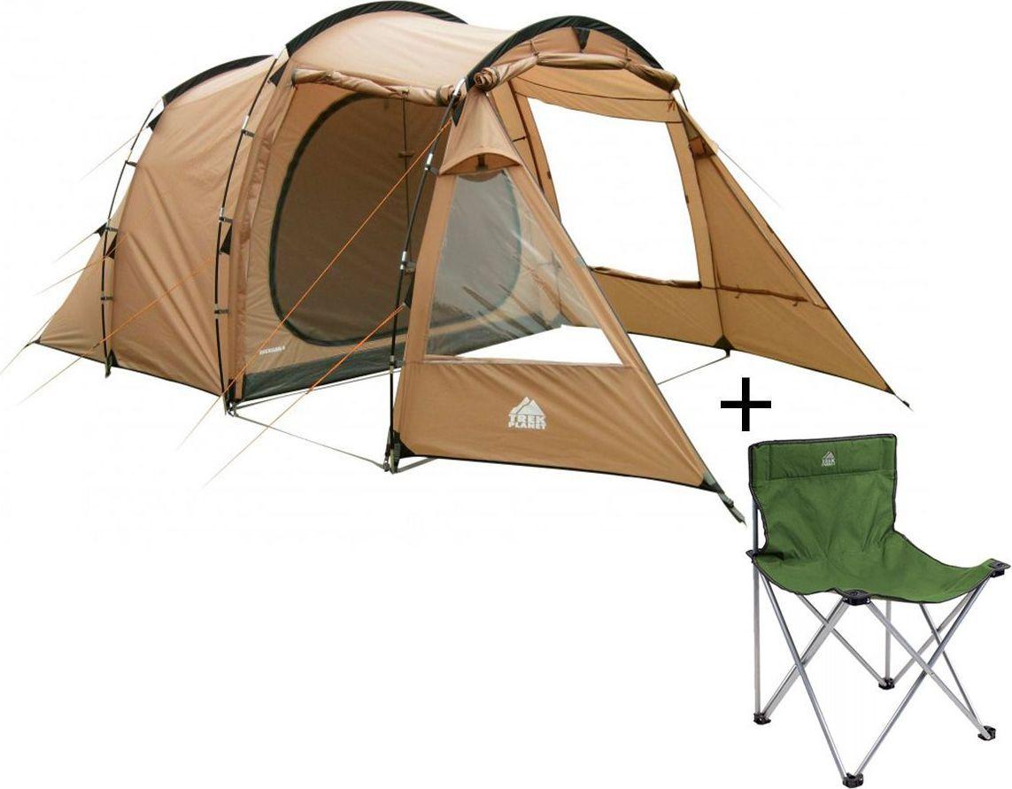Палатка пятиместная TREK PLANET Michigan 5, цвет: песочный + Стул складной TREK PLANET Traveler, кемпинговый палатки greenell палатка дом 2