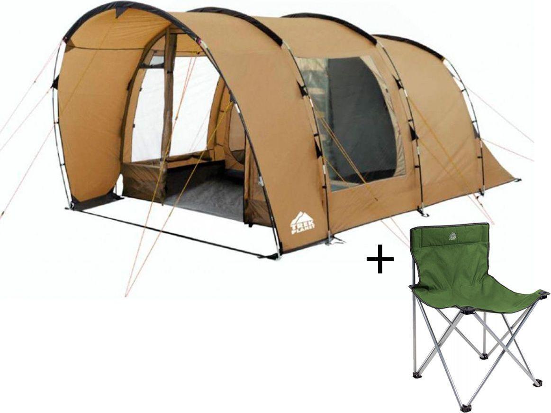 Палатка четырехместная TREK PLANET Calgary 4, цвет: песочный + Стул складной TREK PLANET Traveler, кемпинговый палатка четырехместная trek planet hudson 4 цвет серый оранжевый
