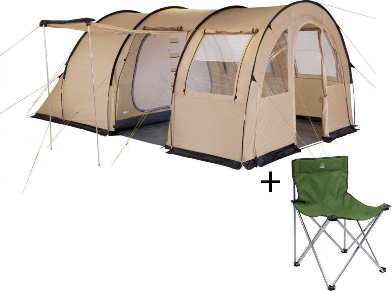 Палатка четырехместная TREK PLANET Vario 4, цвет: песочный + Стул складной TREK PLANET Traveler, кемпинговый палатка четырехместная trek planet hudson 4 цвет серый оранжевый