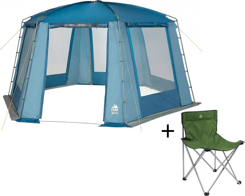 Шатер-тент TREK PLANET Siesta, шестиугольной формы, цвет: синий, голубой + Стул складной TREK PLANET Traveler, кемпинговый70258-70635Универсальный шатер шестиугольной формы Trek Planet Siesta с огромным внутренним помещением отлично подойдет как для дачи, так и для кемпинга. При открытых по всему периметру больших окнах - очень хорошо проветривается, а москитная сетка защищает от назойливых комаров и мух. При полностью закрытых шторками окнах - дает 100% защиту от дождя и непогоды.Особенности шатра: - Легко собирается и разбирается,- Устойчив на ветру,- Тент шатра из полиэстера, с пропиткой PU водостойкостью 2000 мм, надежно защитит от дождя и ветра, все швы проклеены,- Каркас: боковые стойки из стали, потолочные дуги из прочного стеклопластика, - Большие москитные сетки во всю ширину окон и дверей,- Защитные шторы на каждом окне и двери,- Два входа в шатер,- Защитный полог по всему периметру защищает от ветра, дождя и насекомых,- Возможность подвески фонаря в палатке, Характеристики: Цвет: синий/голубой.Размер шатра: 460 см х 400 см х 210 см.Материал шатра: 100% полиэстер, пропитка PU.Водостойкость: 2000 мм.Материал дуг: стеклопластик 12,7 мм, сталь 19 мм.Вес: 13,2 кг.Размер в сложенном виде: 25 см х 25 см х 86 см.Производитель: Китай.Артикул: 70258. Стул складной Trek Planet Traveler, кемпинговый, 48х40х46x74,5 смДостаточно широкое сиденье и спинка складного стула Traveler гарантия комфорта на пикнике, рыбалке, в походе.Добавьте к этому легкий вес, прочный материал с защитой от ультрафиолетового излучения и ножки с защитой из прочного пластика, чтобы стул не проваливался в землю по нагрузкой.Компактно складывается, комплектуется чехлом с лямкой для переноски.- Комфортное сиденье- Защита ножек- Комплектуется чехлом с лямкой для храненияи переноскиХарактеристики: Материал: 600D Polyester- стойкий к ультрафиолетовому излучениюРама: 16 мм стальРазмер в разложенном виде: 48х40х46x74,5 смРазмер в сложенном виде: 18х16х78 смВес: 2,2 кгНагрузка: 100 кгЦвет: зеленыйПроизво