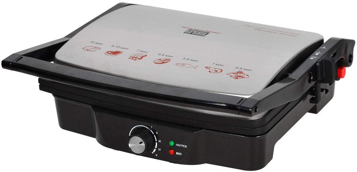 GFgril GF-060, Black электрогрильGF-060Электрический контактный гриль GFgril GF-060 готовит за считанные минуты, удаляет лишний жир. Большая поверхность для приготовления 4-х кусков мяса. Особенности:Мощность 2000 Вт. Ненагревающаяся ручка. Регулятор температуры. Максимальный нагрев до 200 °С. Антипригарное покрытие панелей. Открывается на 180°. Плавающая замковая система верхней крышки - подстраивается под нужную высоту продукта. Световые индикаторы включения и нагрева. Меняющийся наклон ножки для изменения скорости стекания жира. Чаша для сбора жира в комплекте.Вертикальное хранение для компактного размещения на кухне.