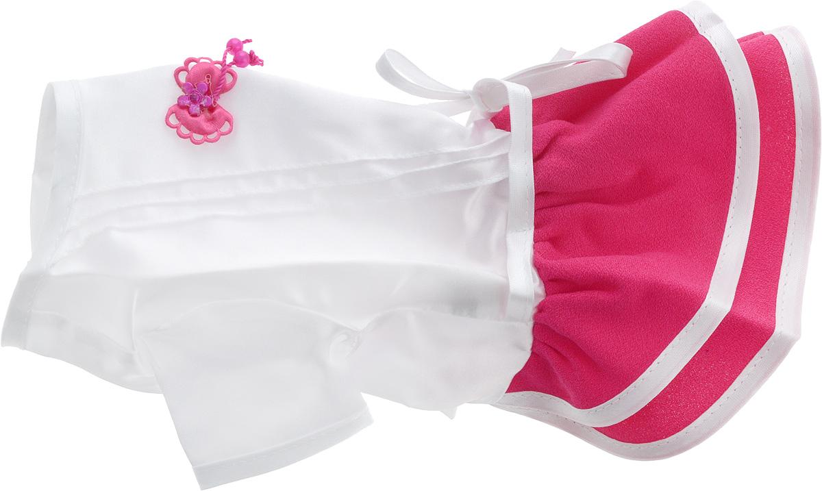 Платье для собак GLG Летнее ассорти, цвет: белый, красный. Размер XSMOS-022-XSПлатье для собак GLG Летнее ассорти выполнено из высококачественного текстиля и оформлено надписью PretaPet и декоративным бантиком. Короткие рукава не ограничивают свободу движений, и собачка будет чувствовать себя в ней комфортно. Изделие застегивается с помощью кнопок на животе, а также дополнительно имеет завязки на спинке.Модное и невероятно удобное платье защитит вашего питомца от пыли и насекомых на улице, согреет дома или на даче. К платью прилагаются запасные кнопки. Длина спины: 24,5 см. Объем груди: 26-28 см.