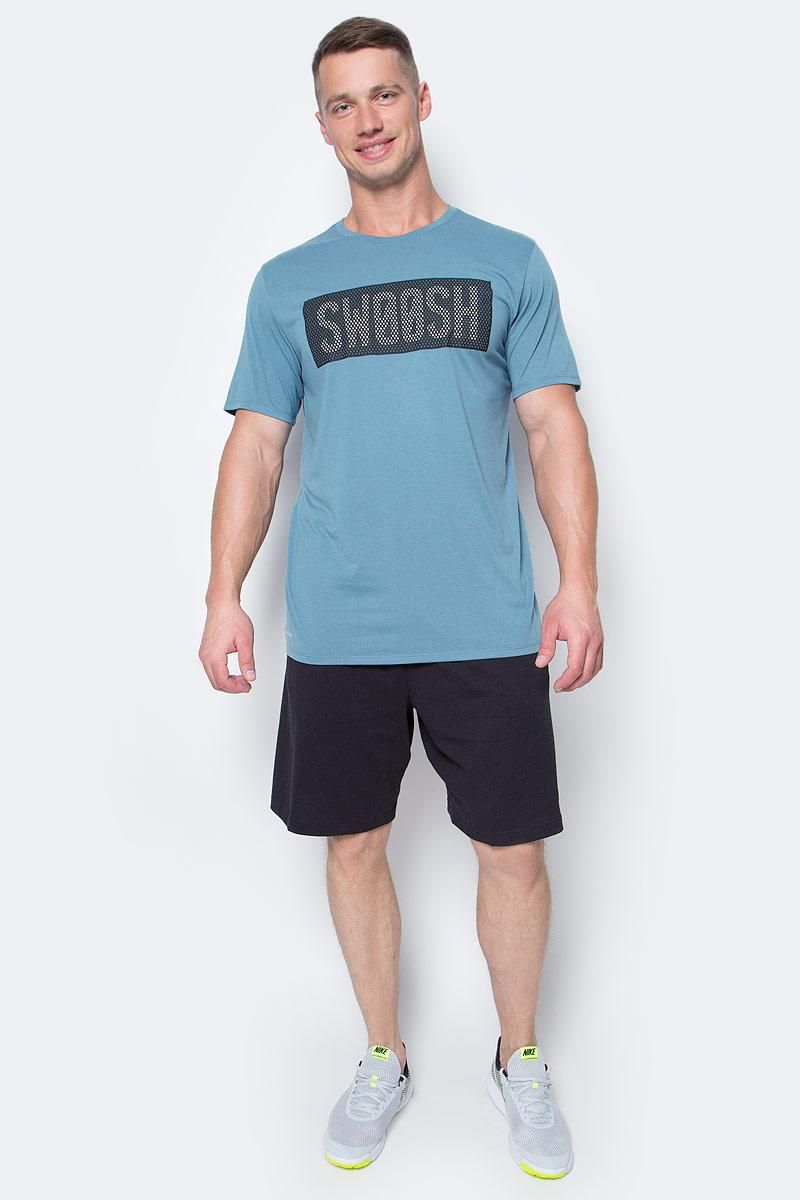 Футболка мужская Nike Nk Dry Tee Db Swoosh Perf, цвет: серо-синий. 834331-055. Размер XXL (54/56)834331-055Мужская футболка для тренинга Nk Dry Tee Db Swoosh Perf от Nike выполнена из полиэстера с добавлением хлопка и вискозы. Модель с круглым вырезом горловины и короткими рукавами оформлена фирменным логотипом.