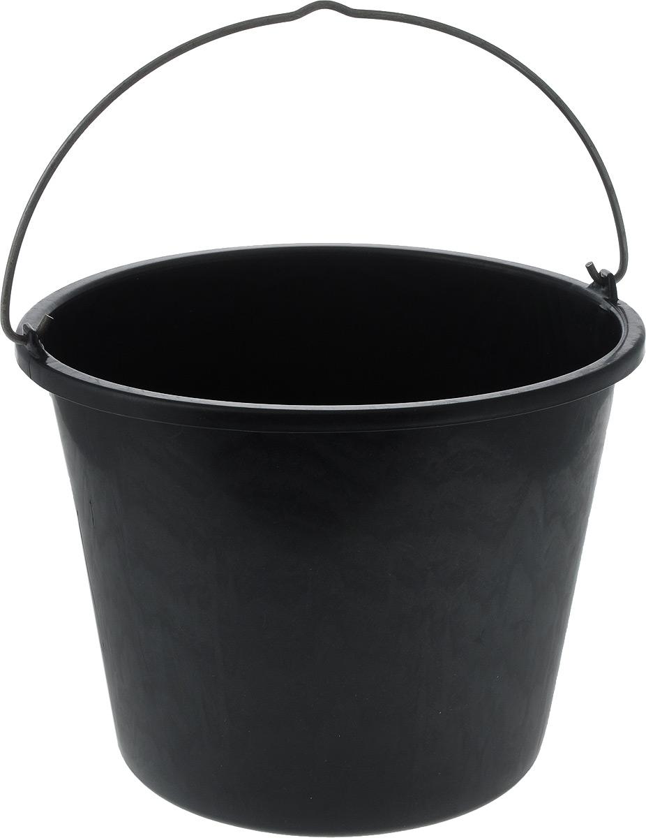 Ведро строительное Альтернатива, цвет: черный, 15 лМ3022_черныйКруглое ведро Альтернатива изготовлено из высококачественного пластика. Оно легче железного и не подвержено коррозии. Ведро оснащено жесткой металлической ручкой. Наполненное ведро выдерживает падение с 15 м высоты.Используется для строительных и хозяйственных нужд.Размер: 33 х 33 х 26,5 см.