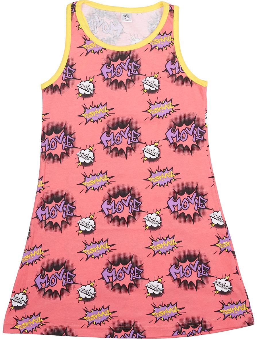 Платье для девочки LeadGen, цвет: коралловый. G119014907-171. Размер 128G119014907-171Платье для девочки LeadGen выполнено из хлопкового трикотажа. Модель на широких бретелях и с круглым вырезом горловины оформлена оригинальным принтом.