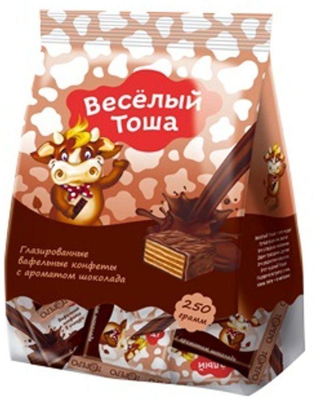 Веселый Тоша конфеты вафельные глазированные с ароматом шоколада, 250 г4603593003777Хрустящие мини вафли в нежной глазури Веселый Тоша в удобной порционной упаковке - увлекательное путешествие в мир вкуса.