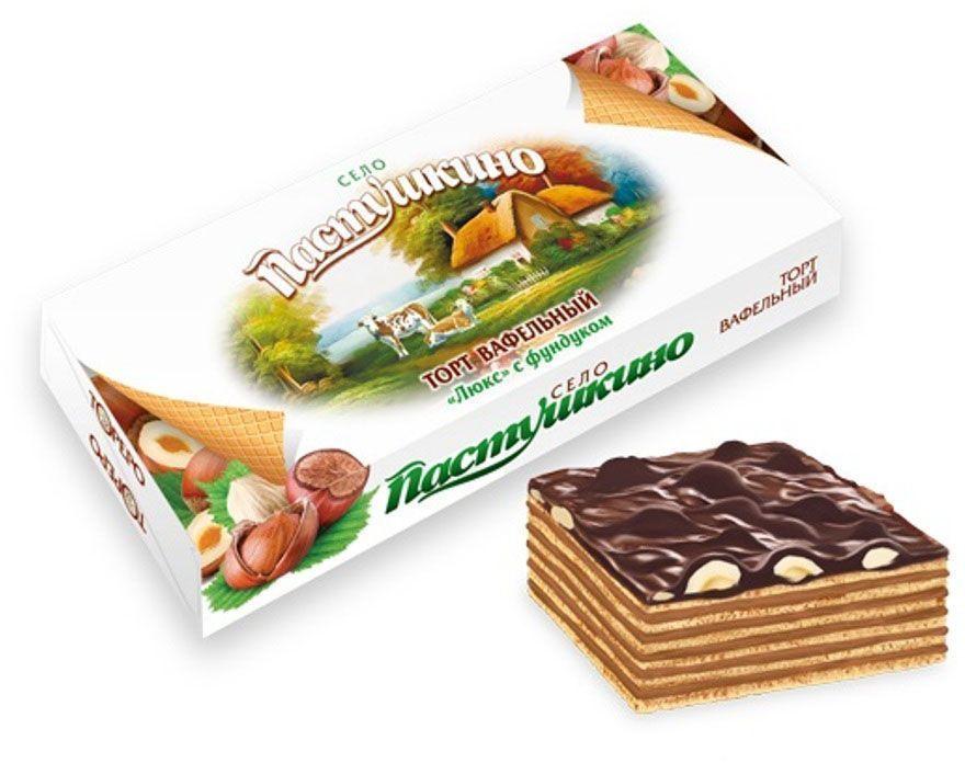 Село Пастушкино вафельный торт люкс с фундуком, 220 г кондитерские изделия