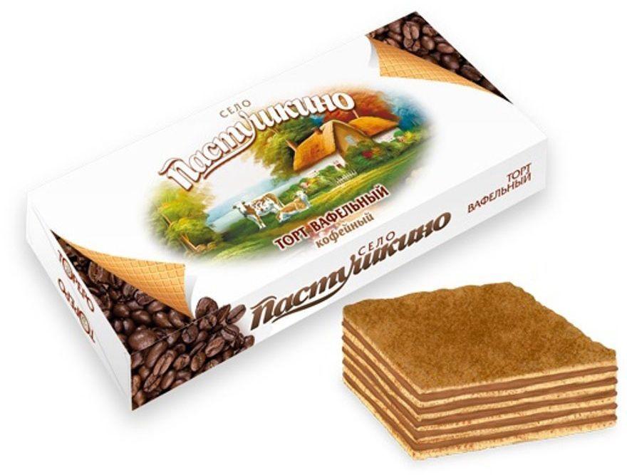 Село Пастушкино вафельный торт кофейный, 220 г кондитерские изделия