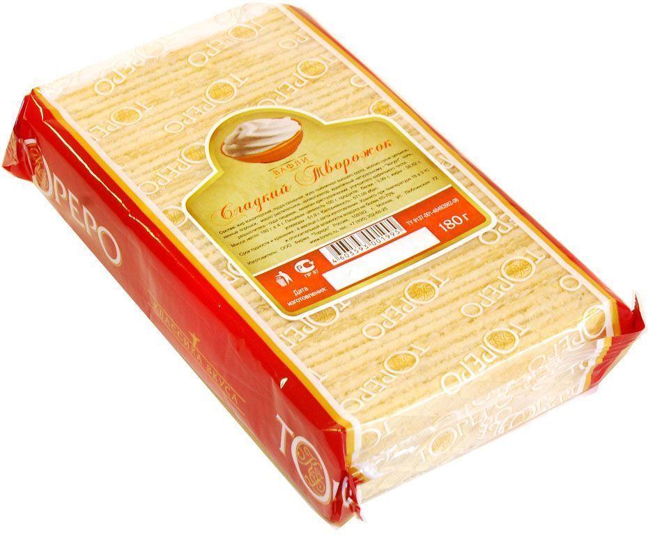 Тореро вафли с ароматом сладкого творожка, 180 г тореро вафельные коржи для торта темные 120 г