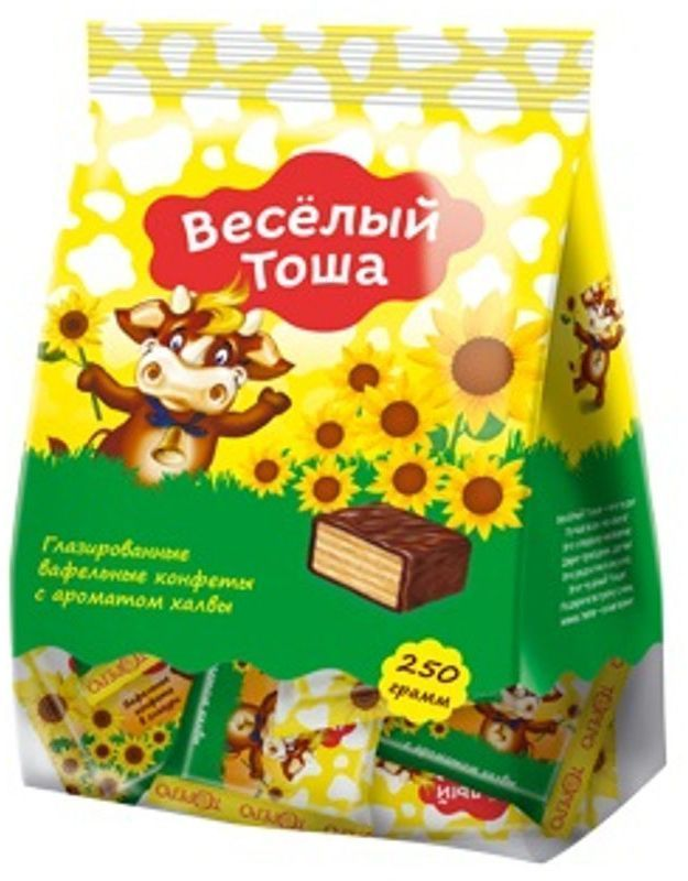 Веселый Тоша конфеты вафельные глазированные с ароматом халвы, 250 г4603593005887Хрустящие мини вафли в нежной глазури Веселый Тоша в удобной порционной упаковке - увлекательное путешествие в мир вкуса.